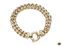 Curb link bracelet with bolt ring catch