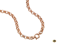 Belcher link chain with bolt ring catch available in yellow or rose gold