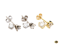 Diamond studs, many sizes available in yellow or white gold