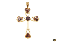 Garnet-set cross pendant