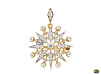 Antique diamond star burst pendant