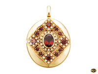 Oval garnet and seed pearl-set pendant