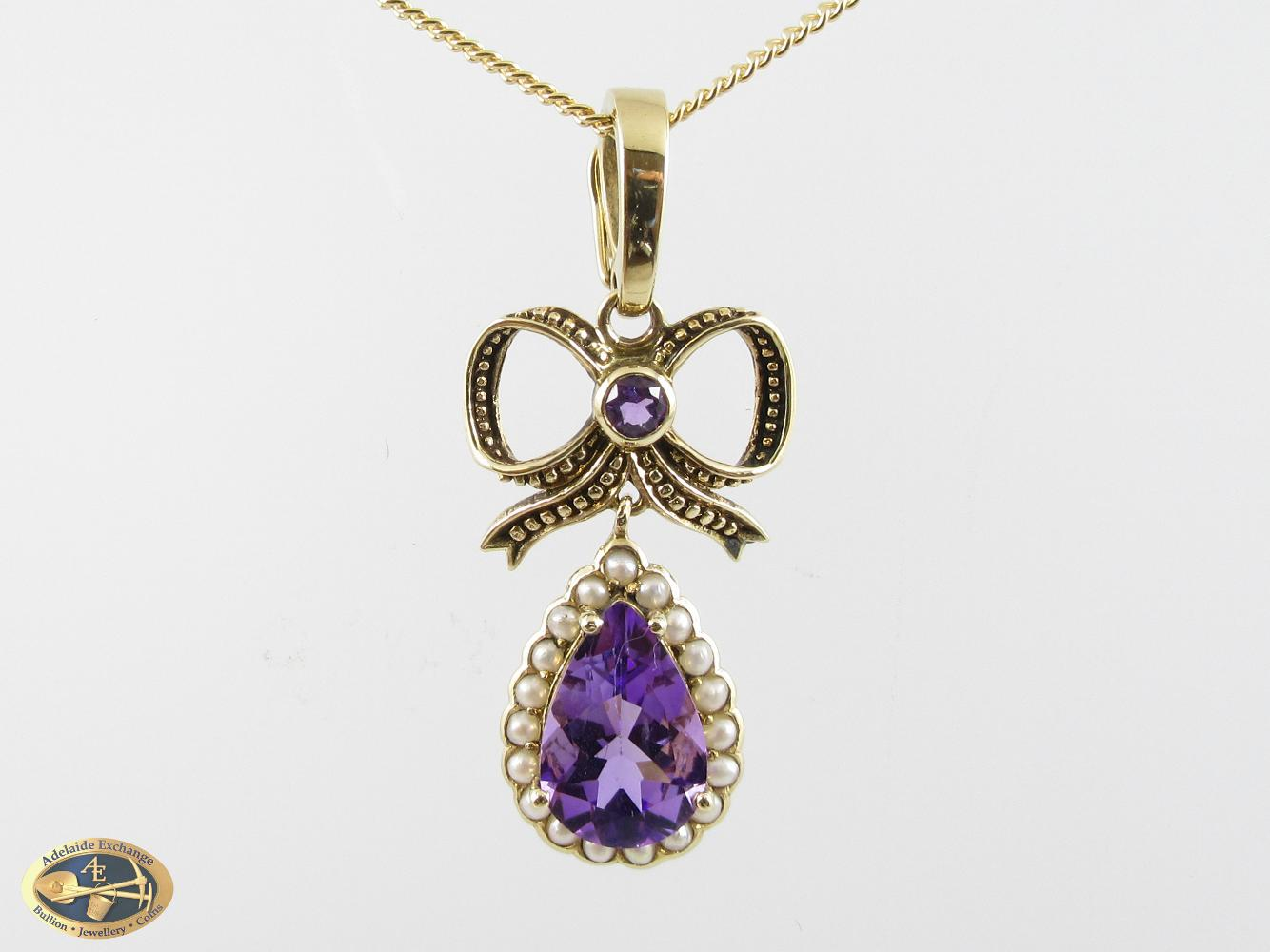 9ct amethyst and seed pearl enhancer pendant adelaide exchange 9ct amethyst and seed pearl enhancer pendant aloadofball Image collections