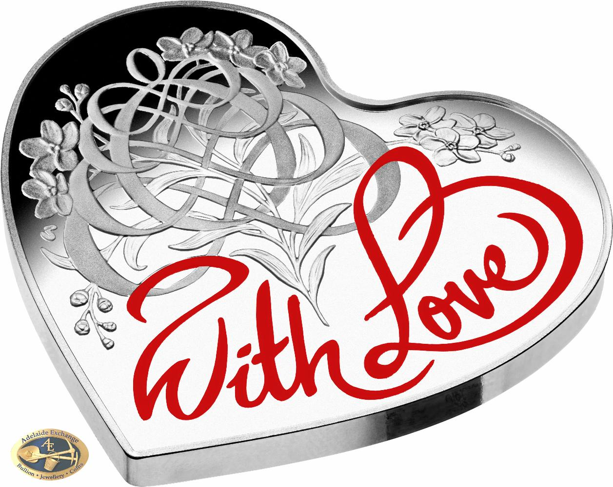 2016 With Love Heart Shaped 5 Silver Proof Coin
